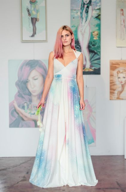 A wedding dress for the mystical. Meet The Astral Love Dress. Born shortly after The Power Dress, this a hand-made gown is meant to combine your and your beloved's colors, signs and intentions into a