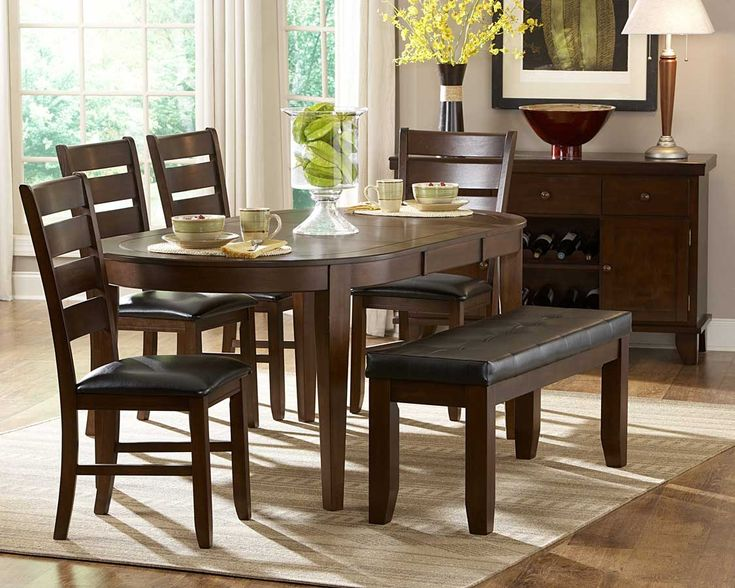 Enhance Your Dining Experience With This Contemporary Style Oval Set Features A Birch Veneer Table Butterfly Leaf Top Supported By