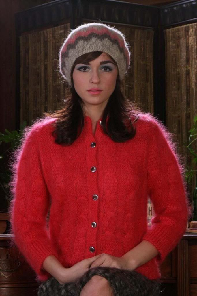 Red Mohair Cardigan Woman S Fuzzy Sweaters Mohair