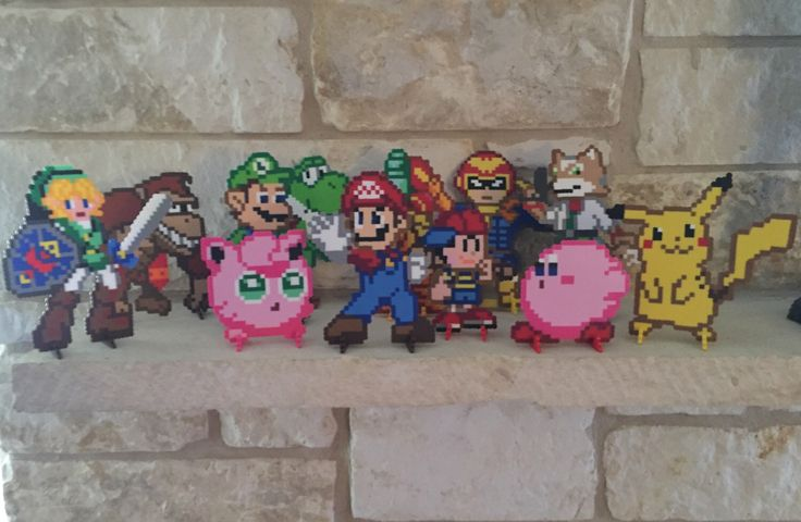 New Super Smash Bros set, based on N64 game. For sale now! :) https://www.etsy.com/listing/249084868/n64-super-smash-bros-perler-bead-sprites