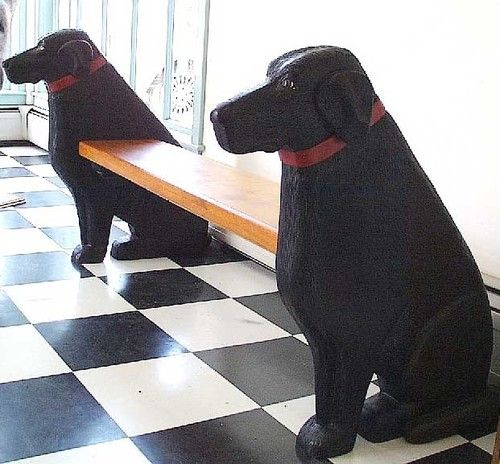 Black Labrador Bench eclectic benches---  I want one done with dachshunds!!!