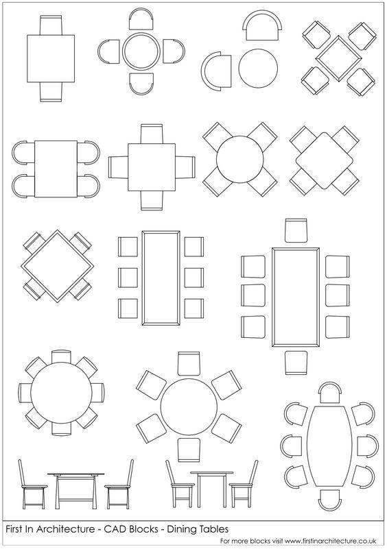 Free CAD Blocks – Dining Tables | การตกแต่งบ้าน | Cad blocks