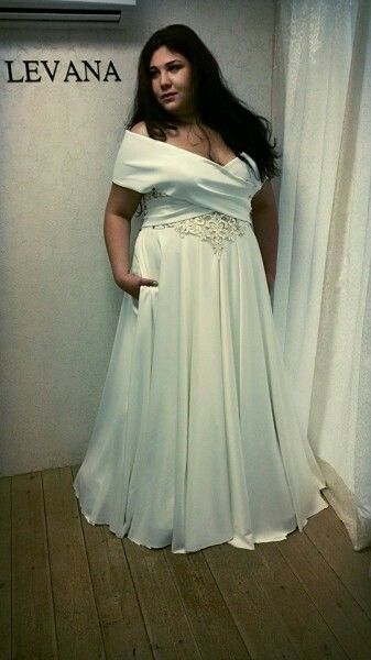 Regal plus size wedding dress with off shoulder x sleeves