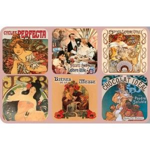 Mucha Coasters, set of 6, assorted images of French vintage posters. Made of cork.