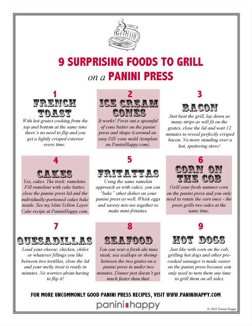 9 Surprising Foods to Grill on a Panini Press + FREE printable fridge poster ... (c) Kathy Strahs www.paninihappy.com #recipe