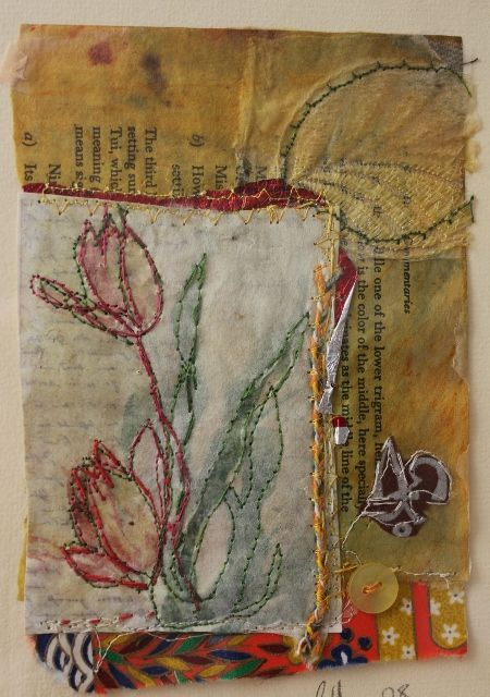 Cas Holmes ....very gorgeous work. Her book is great....The Found Object in Textile Art.