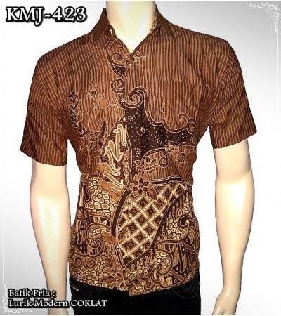 Men's batik shirt Modern Lurik motives Brown colour KMJ-423 only Rp 55.000 @ Rajapadmi Batik (www.rajapadmistore.com), Jogjakarta, Indonesia.