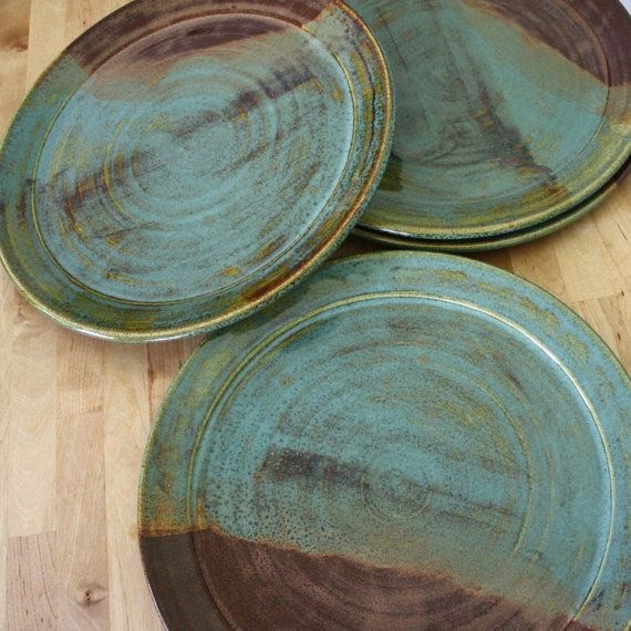 Handmade Pottery Plates - Set of Wheel Thrown Plates - Large Stoneware Plates - EarthToned Pottery - Made in Maine by Cherie Giampietro