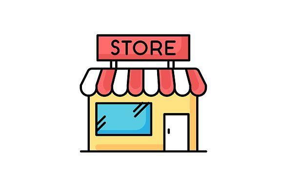 Convenience Store Rgb Color Icon Storefront Design Shop Illustration Store Design Interior