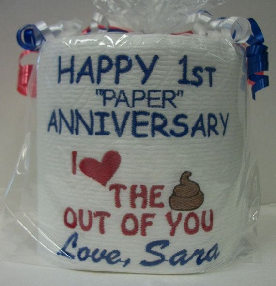 Paper Anniversary Gifts For Him Part - 47: Paper Anniversary - First Anniversary For Him Or Her - Persoanlized -  Custom Made Embroidered 1st Anniversary Toilet Paper - Funny Gift