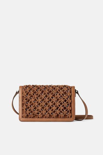 fe17b672 ZARA - Female - Woven leather crossbody bag with metal trim ...