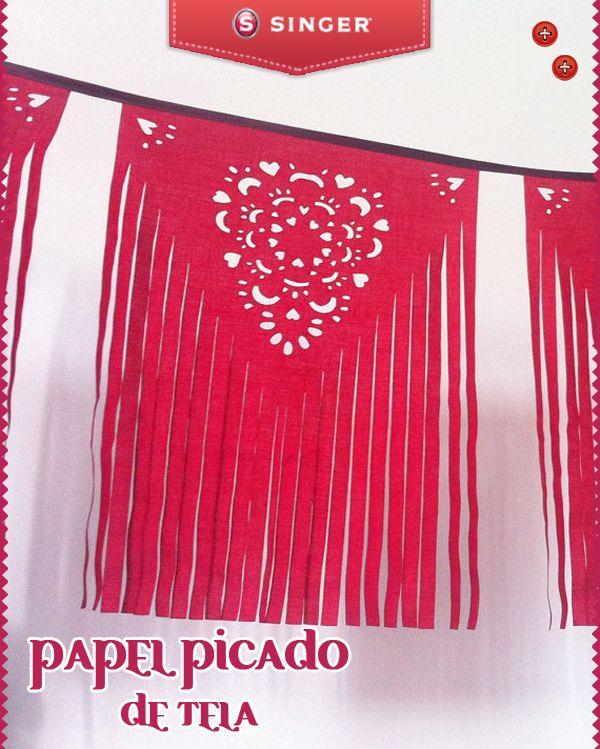 Papel picado de tela en guirnaldas yolohice singer rojo - Guirnaldas de tela ...