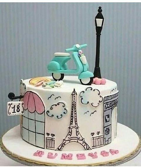 Bolo tema Paris que vi no @blogmotherofthebride_cristina