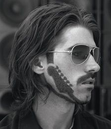 guitar head pattern beard with medium long hair men hairstyle collection mustaches