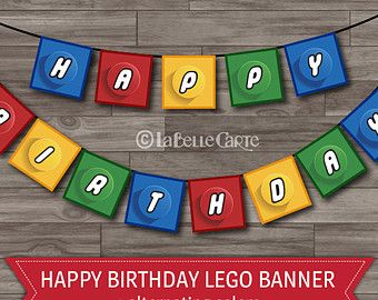 Lego Party Banner, Lego Birthday Party Decoration, Happy Birthday Banner, Lego Banner Bounting - Digital files: INSTANT DOWNLOAD