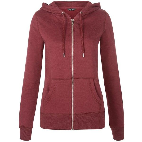 Burgundy Basic Zip Up Hoodie found on Polyvore featuring tops, hoodies, outerwear, burgundy, red zip up hoodie, red top, long sleeve tops, zip up hoodies and burgundy hoodie
