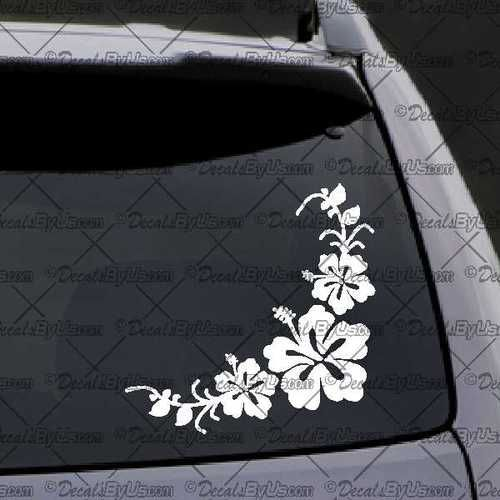 Corner Flowers Decal – Decal - Car Window Decal - Sticker – White