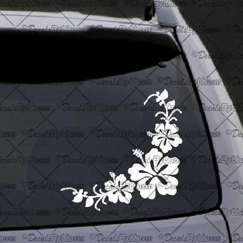 Corner Flowers Decal – Decal - Car Window Decal - Sticker – White