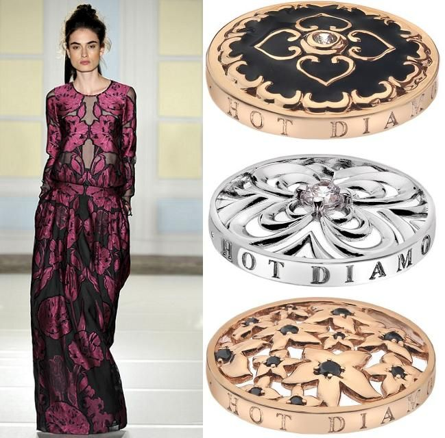 Don't underestimate the power of the flower! Alice Temperley demonstrates this with her  show-stopping floral gowns. Our Atlas Rose Gold, Floral and Blossom coins enable you to have a piece of summer even when it's cold outside. (Runway photography by www.catwalking.com)