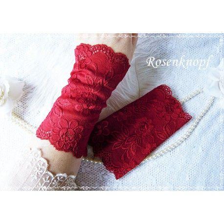 Elegante und feine Spitzenstulpen aus elastischer, roter Spitze♥