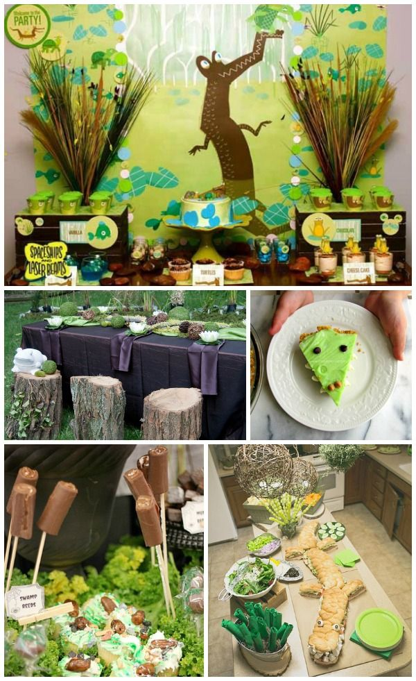 Swamp Party-Love the log stumps and puple linens for the tables