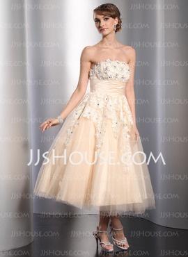 A-Line/Princess Strapless Tea-Length Satin Tulle Wedding Dresses With Ruffle Lace Beadwork (002014765) JJsHouse  $167 custom sized