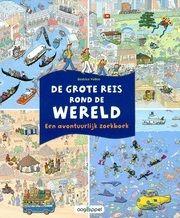 """Het avontuurlijke zoekboek """"De grote reis rond de wereld"""" van Beatrice Veillon is een aanrader binnen dit thema. Deze prenten tonen herkenbare stadsgezichten of landschappen van veel verschillende landen. Kinderen in groep 1 en 2 zijn gek op deze zoekplaatjes."""