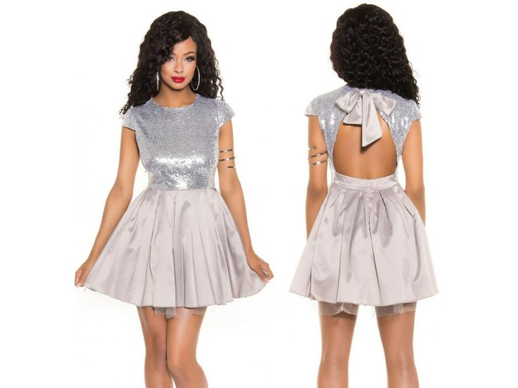 Stříbrné koktejlové šaty Koucla na party i do společnosti - silver evening party prom dress