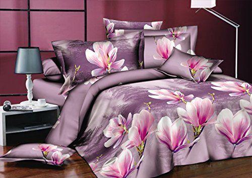 AmeliaHome 91685 Bettwäsche 200x200 cm mit 2 Kissenbezügen 80x80 Bettwäscheset Bettbezüge Microfaser Bettwäschegarnituren Reißverschluss Blume Blumen Blumenmuster Paola lila violett