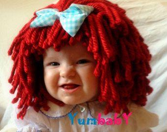 Raggedy Ann Wig Halloween Costume Bambino cappello Raggedy Ann Costume Toddler Costume filato rosso parrucca 2T Costume Bambino cappello bambino Costume Bambino parrucca