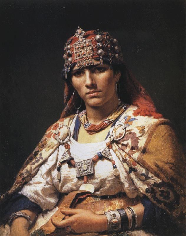 Peinture Algérie - Frederick Arthur Bridgman - Portrait of a Kabylie Woman, Algeria (1875). Oil on canvas.