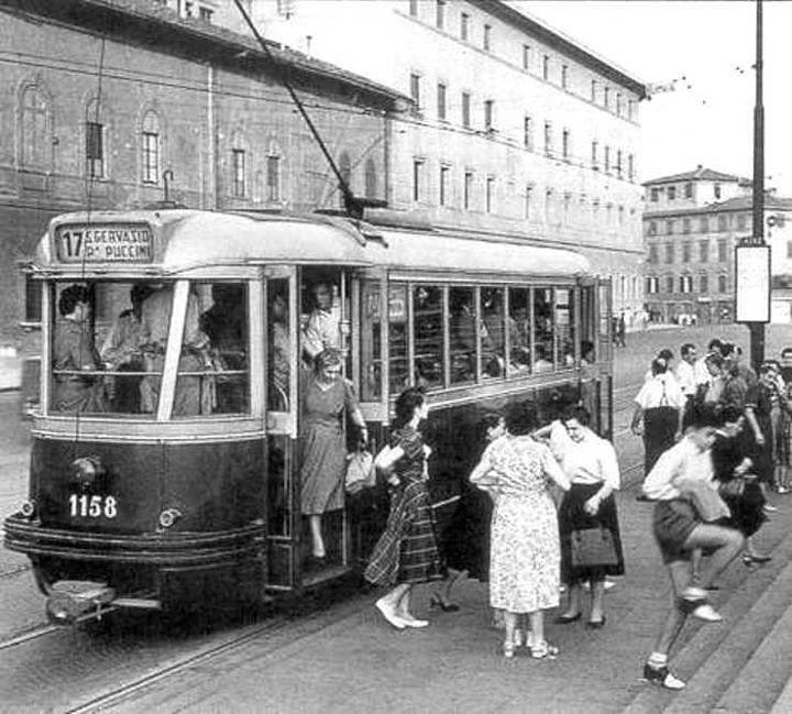 1950: Tram arriving in Piazza della Stazione ( Santa Maria Novella Train Station)