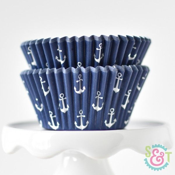 Navy Cupcake Liners: Anchor | Nautical Theme | Sweets & Treats