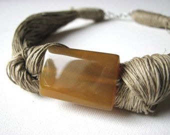 Ceramic Cream linen necklace by GreyHeartOfStone on Etsy