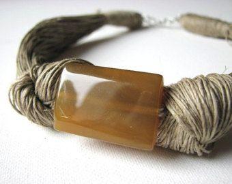 Green Orange Agate linen necklace by GreyHeartOfStone on Etsy