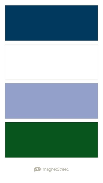 Navy, White, Periwinkle, and Hunter Wedding Color Palette - custom color palette created at MagnetStreet.com THIS WITH DARK GREEN - WOULD USE TARTAN ON TABLES WITH THIS SCHEME