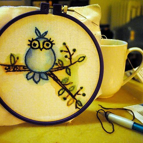 Embroidery.  Put design on first, then watercolor on the fabric, then stitch.  Interesting.