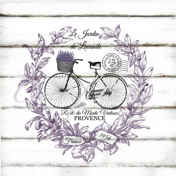 French Vintage Lavender Wreath Bicycle Large by CreatifBelle