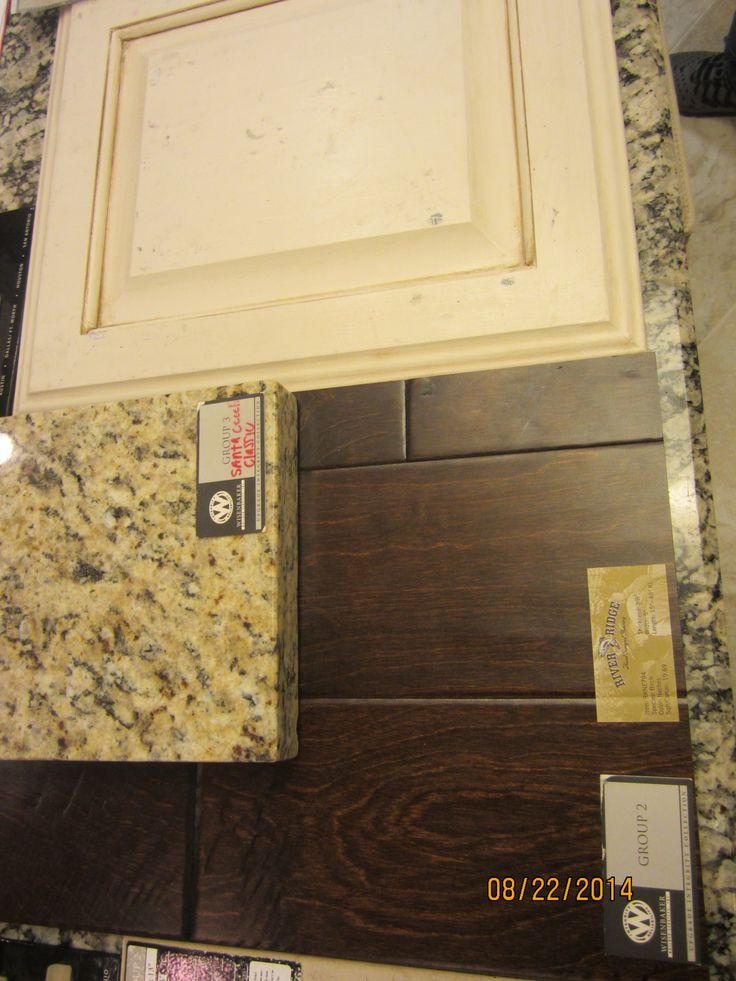 Kitchen wood floor cream distressed cabinets and granite - Cream distressed kitchen cabinets ...