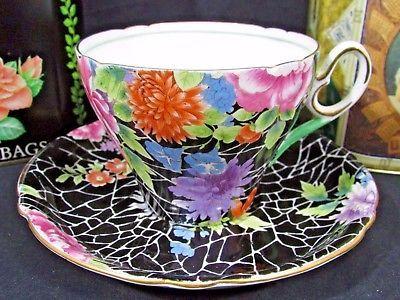 SHELLEY BLACK CRACKLE 0199 CAMBRIDGE SHAPE CHINTZ TEA CUP AND SAUCER