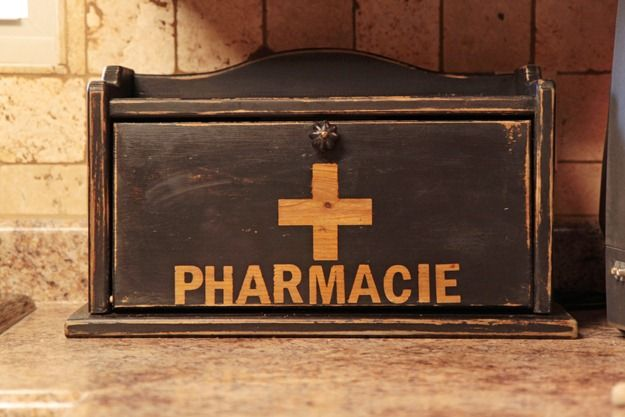 painted pharmacy container out of old bread box