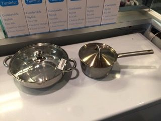 RESTAURANT SUPPLY STAINLESS POT AND PAN. BOTH WITH LIDS