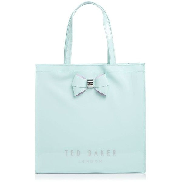 Ted Baker Bow Large Icon Tote ($59) ❤ liked on Polyvore featuring bags, handbags, tote bags, mint, bow purse, mint green purse, ted baker tote, handbags totes and patent leather tote