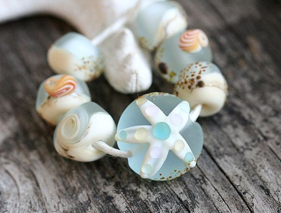 Etched Lampwork beads, Beach beads set in Water Blue color with starfish and shells, by MayaHoney  #forsale #etsy #glass #handmade #homemade #shopping #handcrafted #jewelrymaking #lampwork #mayahoney #beads #beach #shells #seaglass