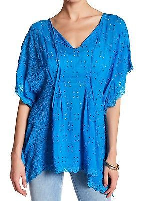 $250 JOHNNY WAS EMBROIDERED COBALT BLUE PONCHO EYELET KEYHOLE TIE RAYON S M NWT