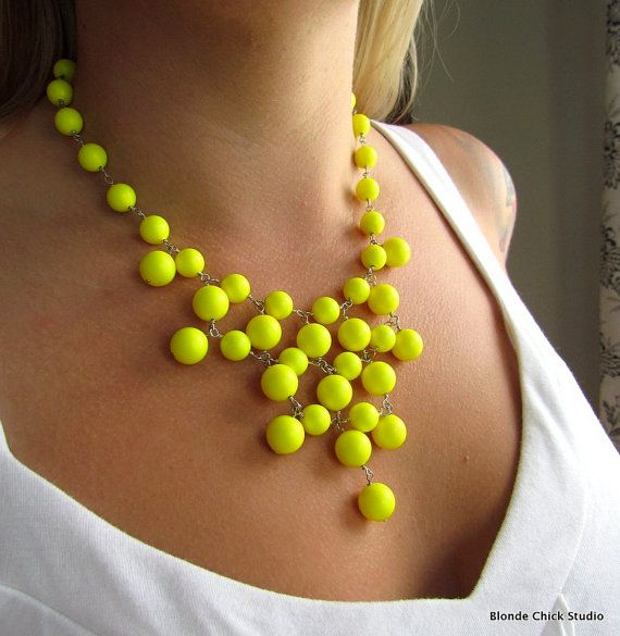 HIGHLIGHTER-Bright Fluorescent Neon Yellow Swarovski Pearl Bib Style Necklace. $75.00, via Etsy.