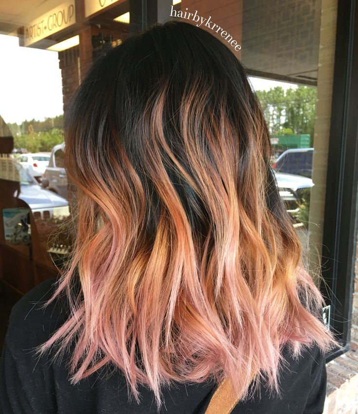 Pink rose gold hair. Rose gold ombre