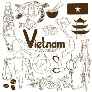 vietnamienne: Fun collection esquisse d'icônes vietnamiens, alphabet pays