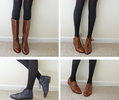 brown boot with black tights my style