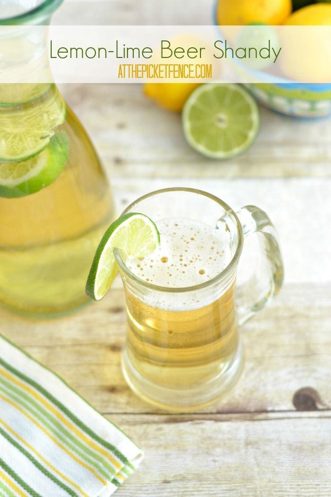 Lemon Lime Beer Shandy Cocktail. A super easy cocktail that has me longing for summer! Printable recipe included. @A T The Picket Fence
